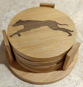 Bamboo Greyhound / Whippet Coasters (set of 4 with holder)