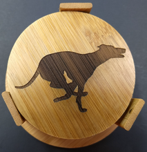Load image into Gallery viewer, Bamboo Greyhound / Whippet Coasters (set of 4 with holder)