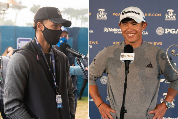 Steph Curry offers his caddie services to Collin Morikawa