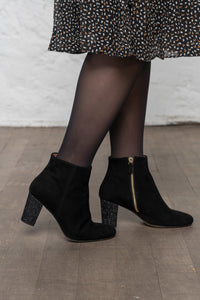 Bottines cuir velours noir ELODIE