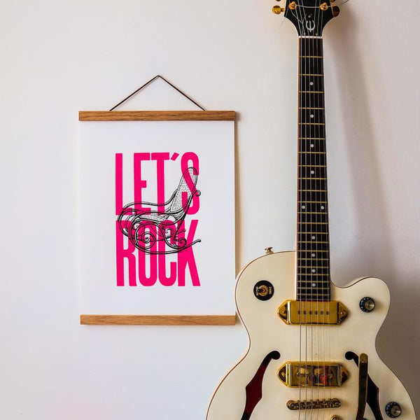 Affiche Let's Rock rose fluo 30x40 cm