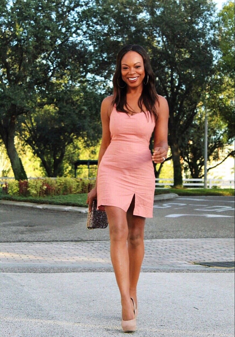 Babe In Blush Pink Short Midi Dress