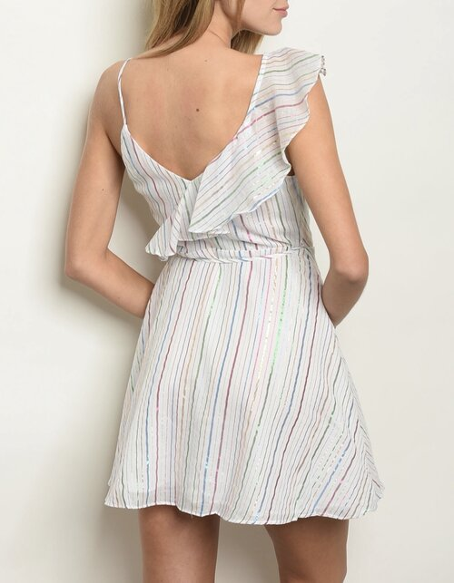 It's A Multi Stripes Rufffled Dress