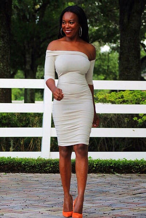 A Very Sophisticated And Elegant  Nude Bodycon Dress