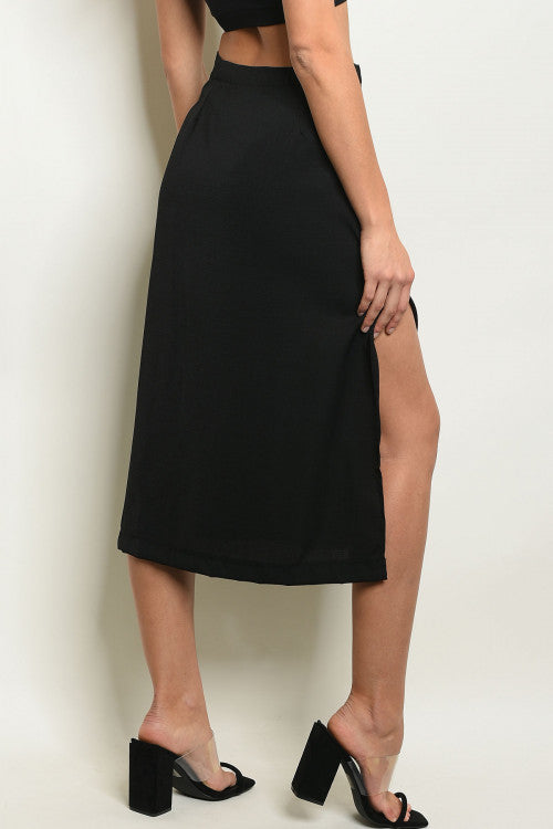 Mickaa Buttons Down Front Midi Skirt