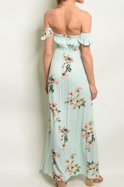 Green Mint Floral Maxi Dress