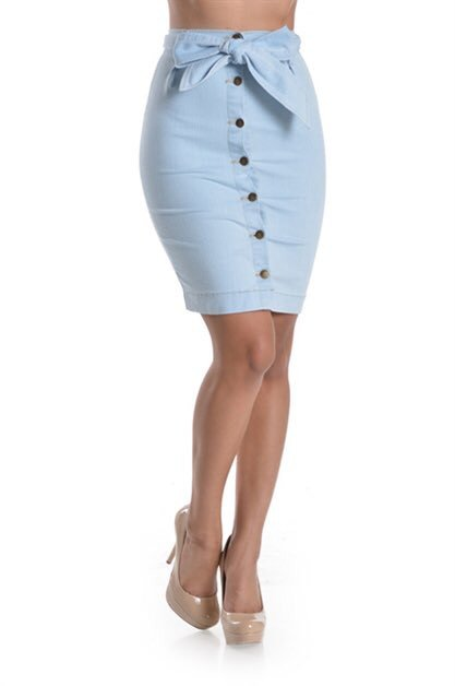 Uptown Light Denim Skirt