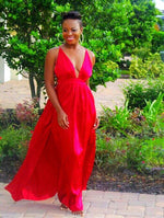 Garland Slip Red Maxi Dress