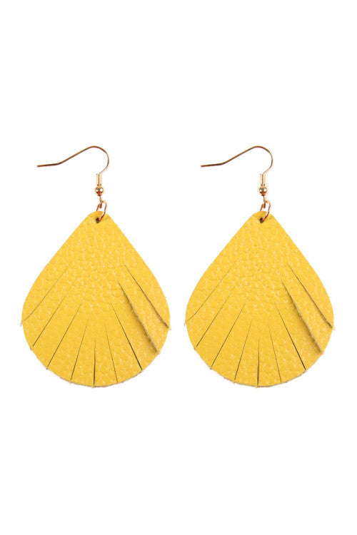 Mickaa Hand Made Pear Shape Yellow Earrings