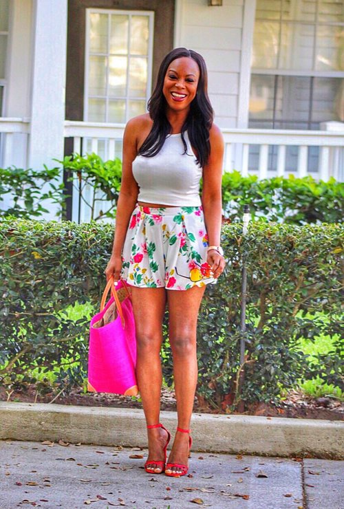 Pretty High Waist Flower Shorts