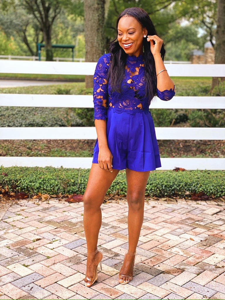 Mickaa Boardwalk Breeze Navy Blue Short Lace Romper