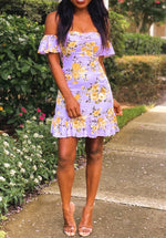 Mickaa Floral Printed Mini Ruffled Dress