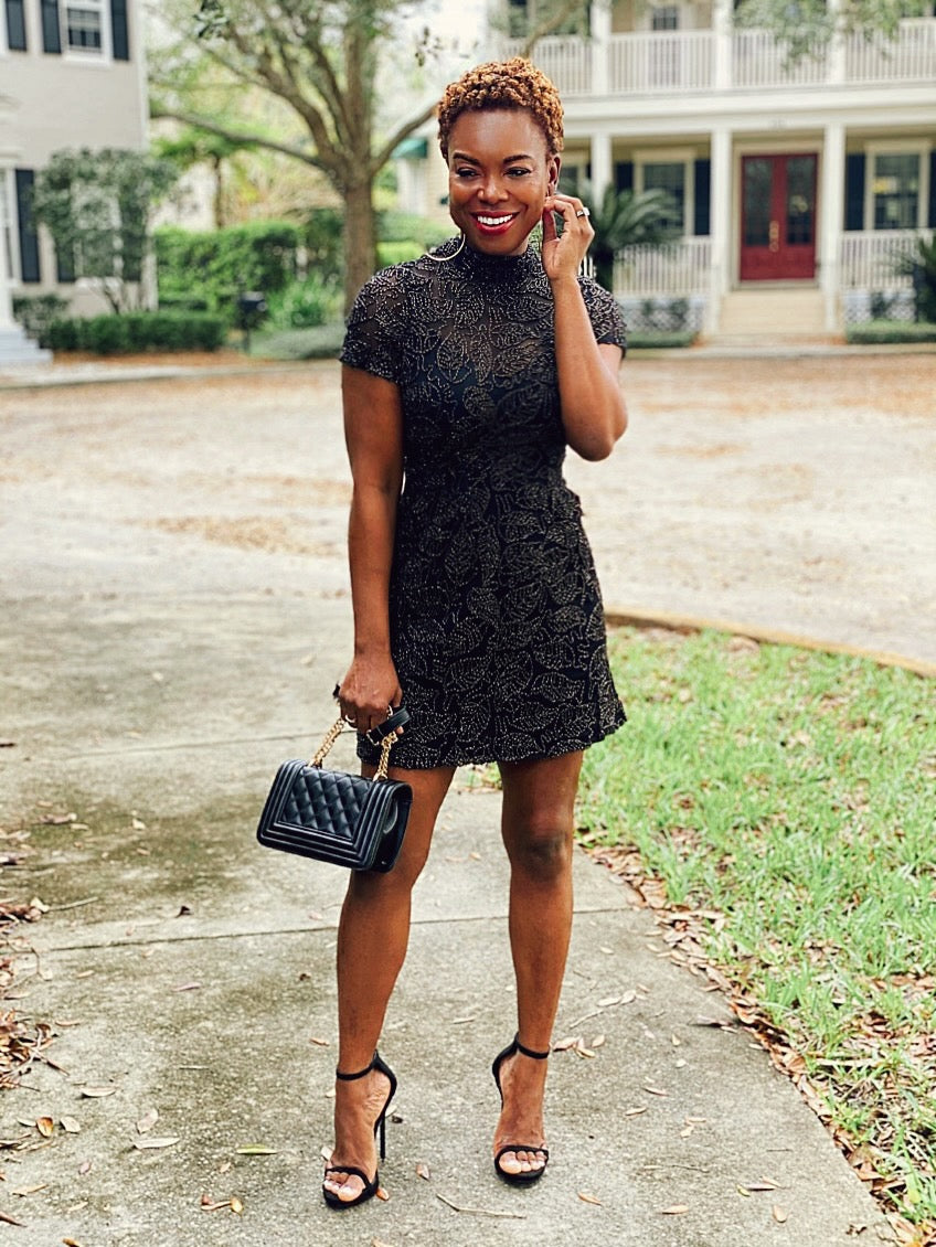 Short Midi Black And Gold Dress