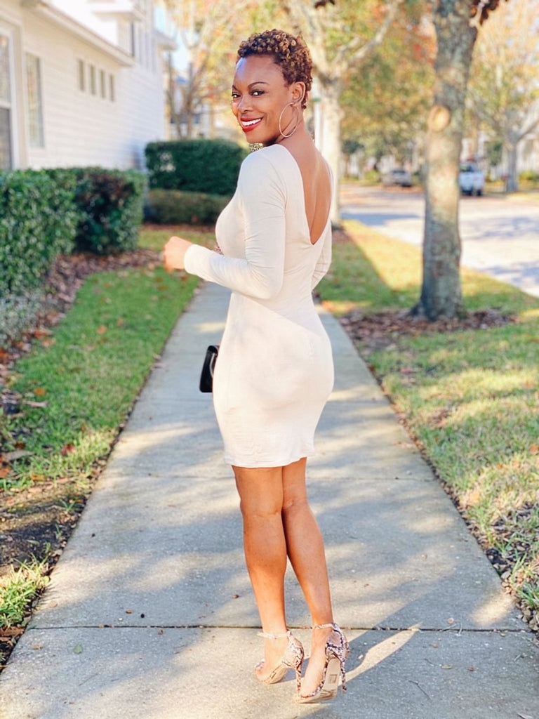 Mikaella Classy Appeal Long Sleeve Bodycon Dress