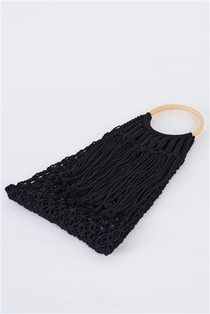 Micaa Black Net Front Cable Fringe Wooden Handle