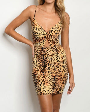 Mickaa Leopard Print Bodycon Dress