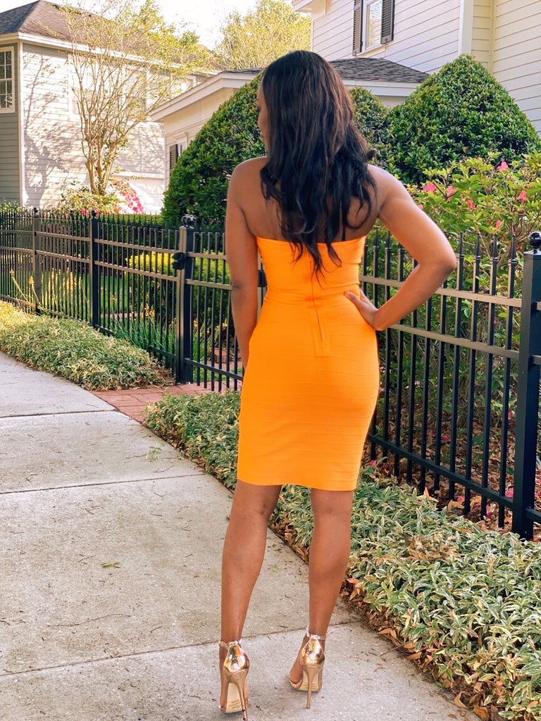 Mickaa Bodycon Orange Tube Dress