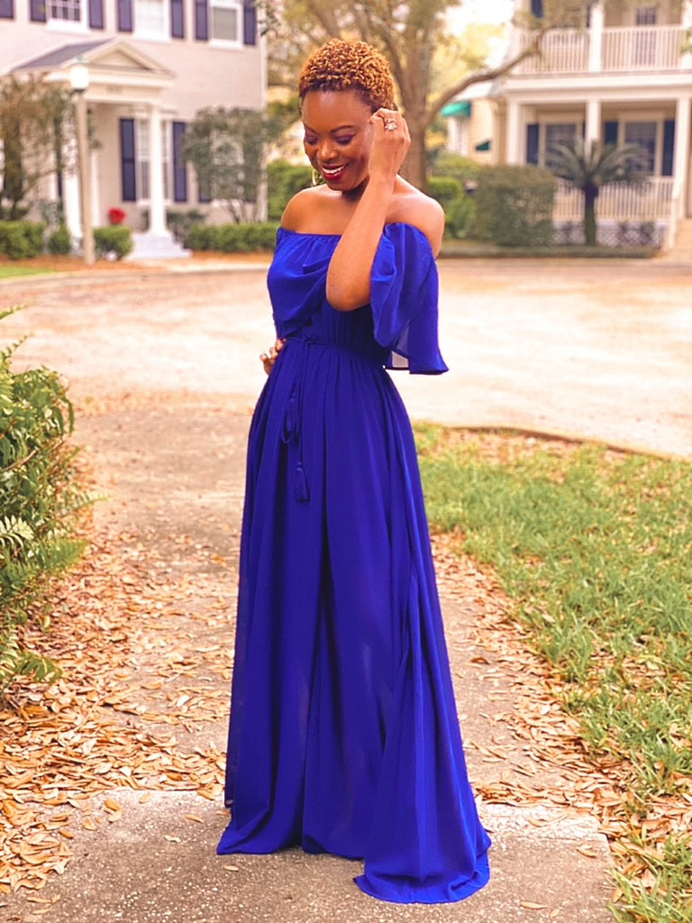 Mickaa It Was Only A Dream Maxi Dress In Navy Blue