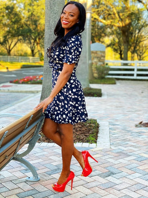 Short Sleeve Flower Print Dress