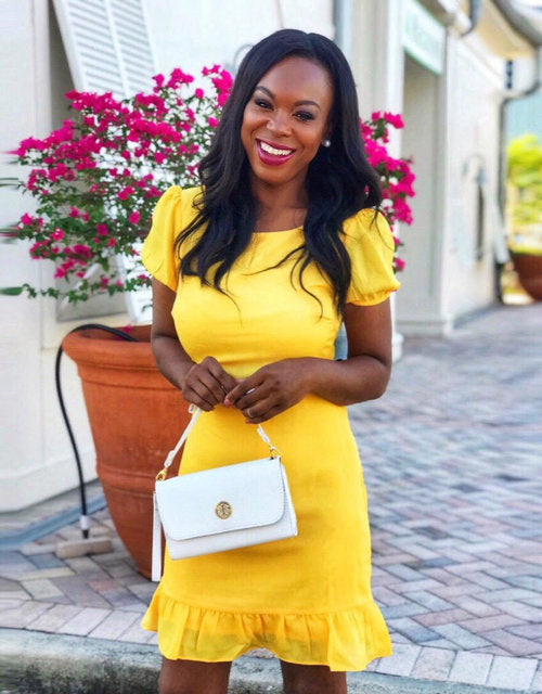 Living Color Ruffle Midi Yellow Dress
