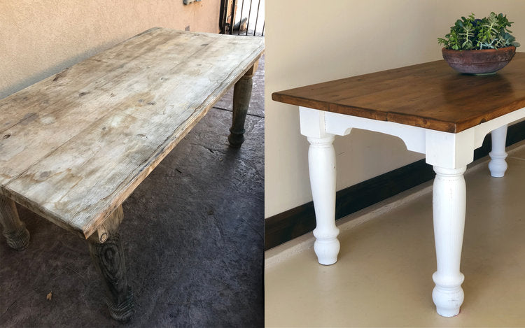 Farmhouse Table Overhaul Using Chalk Paint and Dark Wax