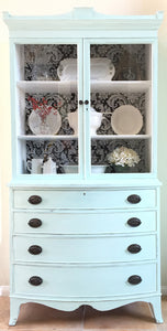 "Antique Hutch Makeover + Fabric ""Wallpaper"" Back"