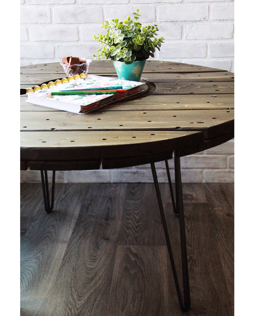 How to Make a Rustic Industrial Table + Faux Stain with Chalk Paint