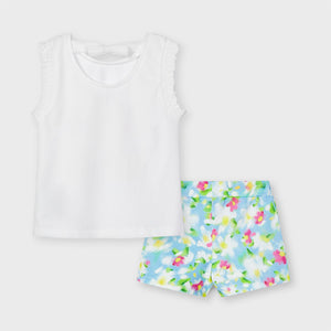 3218 Completo shorts stampa floreale bambina