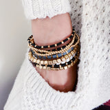 Boutique Bracelet Collection :: Frankela 6pc Set Mocha & Gold Ball Bracelet Stack