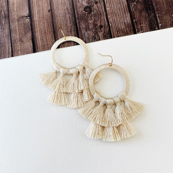 Baubles & Bits Boutique :: Kinsley Natural Hooped Tassel Drop Earrings