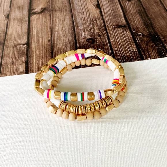 Beach Bracelet Collection :: Eliza White Multi-Hued Stack