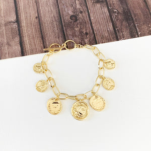 Boutique Bracelet Collection :: Gold Coin Charm Bracelet