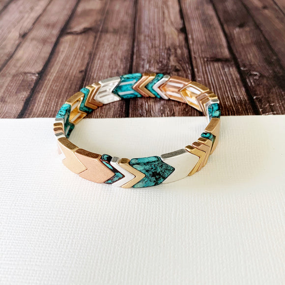 Boutique Bracelet Collection :: Lucy Patina Mixed Metals Chevron Tile Bracelet