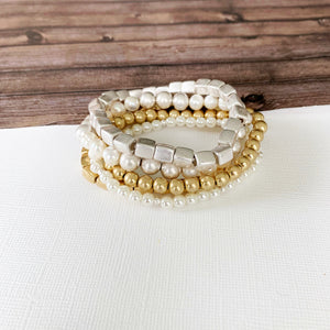 Boutique Bracelet Collection :: Imani Mixed Satin Gold, Silver Ball, and Pearl Bracelets