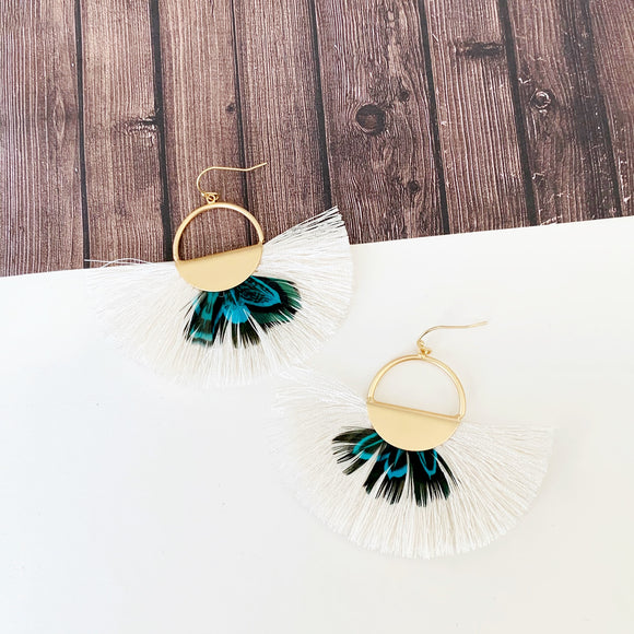 Baubles & Bits Boutique :: Casandra Turquoise Feather Fringe Earrings