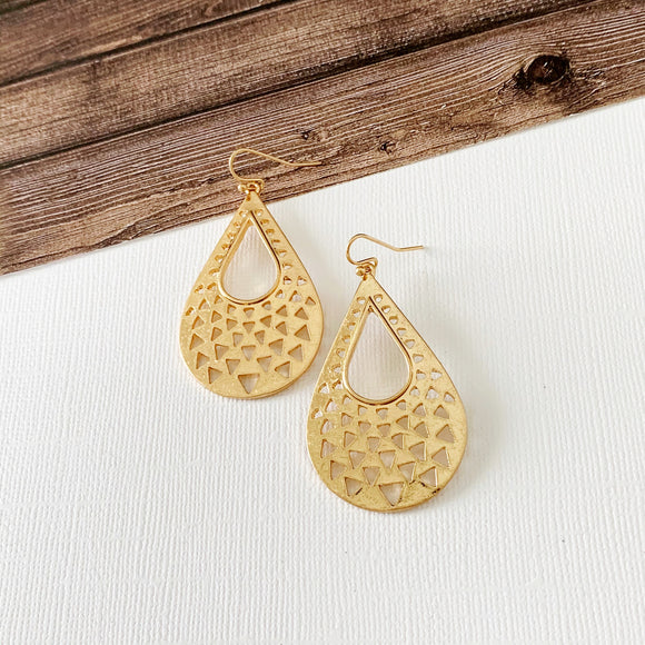 Mixed Metals Earring Collection :: Avah Gold Cutout Teardrops