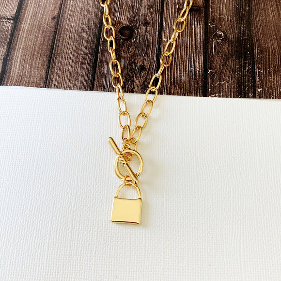 Baubles & Bits Boutique :: Lucia Lock Necklace - Gold