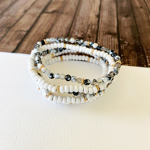 Beach Bracelet Collection :: Gwen Grey, White, and Gold Stacking Bracelets