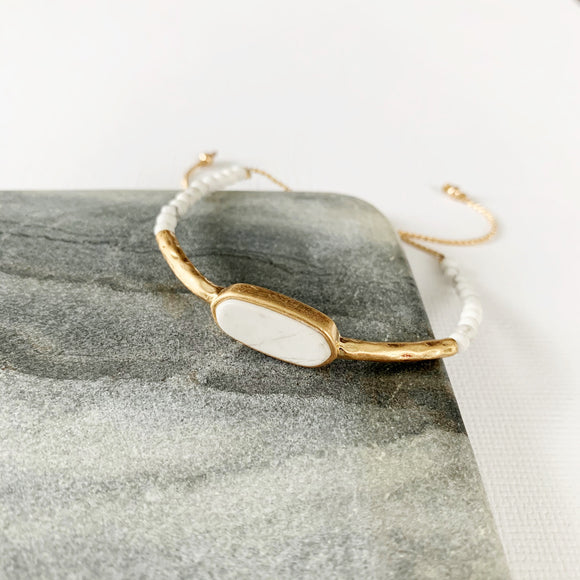 Natural Stone Slider Bracelet Collection :: Howlite Gold Marquee