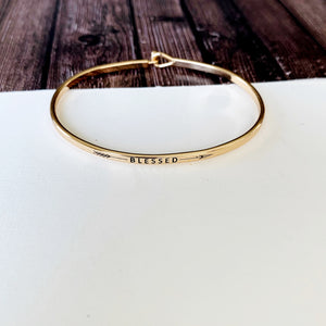 Boutique Bracelet Collection :: Eloise Blessed Skinny Gold Cuff