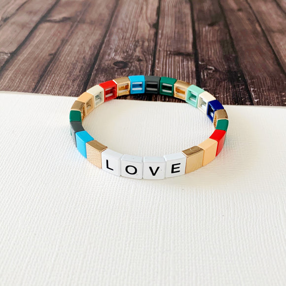 Boutique Bracelet Collection :: Love Muted Rainbow Turquoise Tile Bracelet
