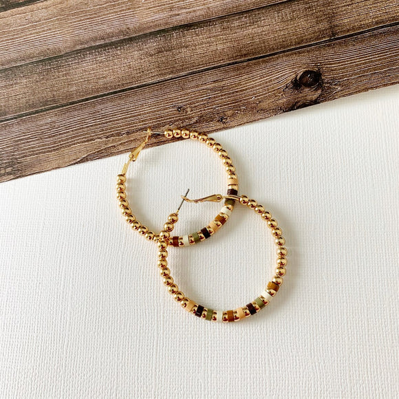 Baubles & Bits Boutique :: Emelia Natural Beaded Hoops