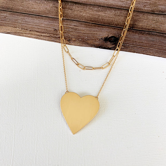 Baubles & Bits Boutique :: Ensley Heart Layered Necklace - Gold