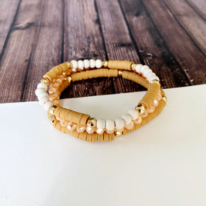 Boutique Bracelet Collection :: Emmie Clay and Crystal Bead Trio - Pumpkin