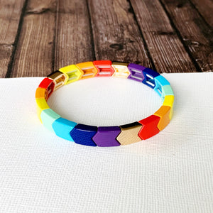Boutique Bracelet Collection :: Jazmin Rainbow Chevron Tile Bracelet