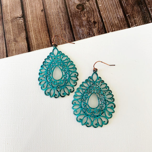 Watercolor Earring Collection :: Emerie Patina Filigree Drops