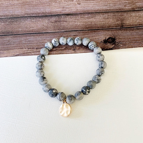 Boutique Bracelet Collection :: Ellie Natural Stone - Grey Agate