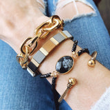 Cable Bracelet Collection :: Kaelyn Gold Link Stretch Bracelet