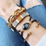 Boutique Bracelet Collection :: Danica Onyx Natural Stone Druzy Double Beaded Band