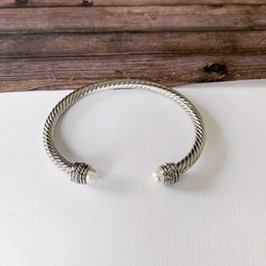 Cable Bracelet Collection :: Autumn White Pearl